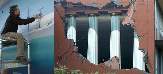Μεταμορφώνει κτίρια με τοιχογραφίες εμπνευσμένες από την Αρχαία Ελλάδα