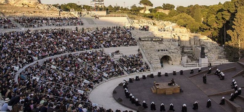 A Greek theater group at the youth festival of Ancient Greek Theater in Sicily